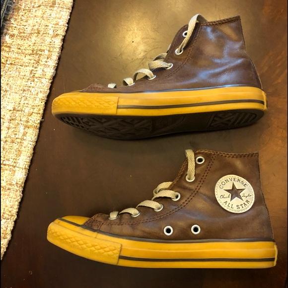 a1de722c83e200 Converse Other - Boys distressed brown leather hi top converse